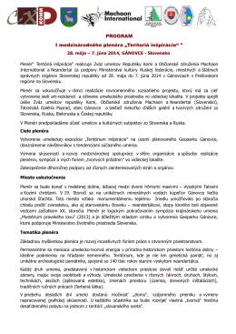 """PROGRAM I medzinárodného plenéra """"Teritoriá"""
