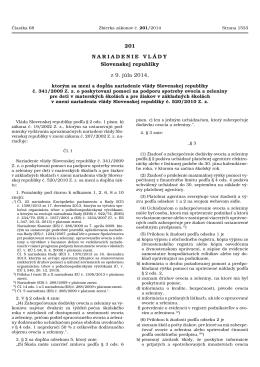 201 NARIADENIE VLÁDY Slovenskej republiky z 9. júla 2014,