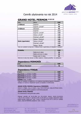 Cenník pult 2014 - Grand Hotel Permon