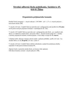 Kritéria pre prijatie žiakov pre šk.rok 2012/2013