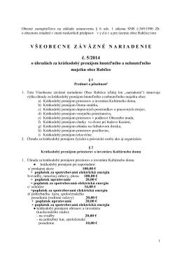 VZN 5/2014 o úhradách za krátkodobý prenájom