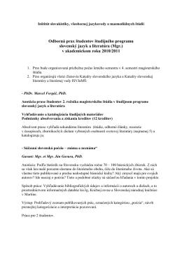Odborná prax študentov študijného programu slovenský jazyk a