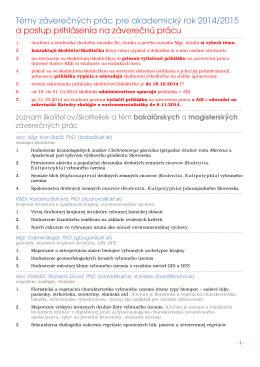 Témy záverečných prác - Katedra ekológie a environmentalistiky