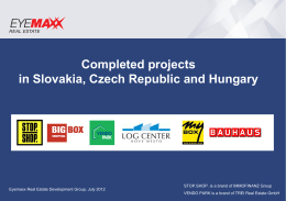 Completed projects in Slovakia, Czech Republic and