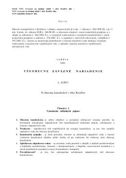 vydáva toto ZÁVÄZNÉ NARIADENIE č. 4/2011 O obecnej