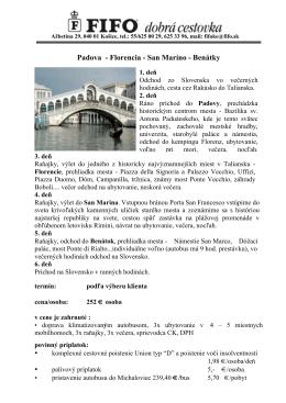 Bližšie informácie o exkurzii do Talianska