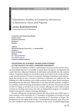 translation Studies at Comenius university in Bratislava: Facts and