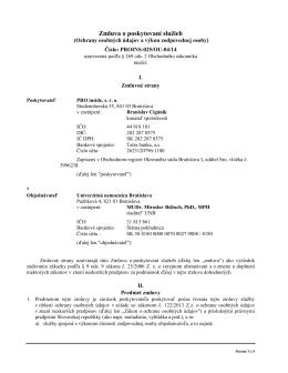 Zmluva o poskytovaní služieb - Univerzitná nemocnica Bratislava