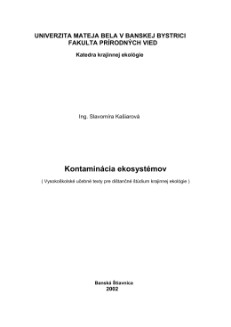 Kontaminácia ekosystémov 2