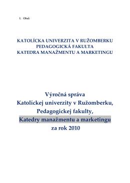 Výročná správa katedry za rok 2010