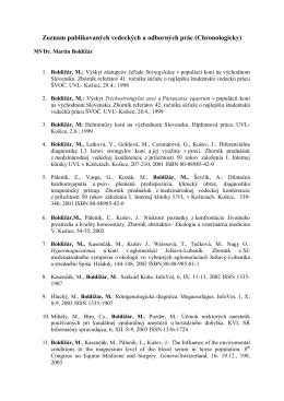 Zoznam publikovaných vedeckých a odborných prác