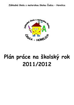 Plán práce na školský rok 2011/2012