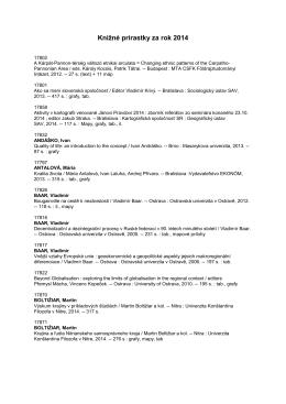 Prírastky kníh 2014 - Geografický ústav SAV