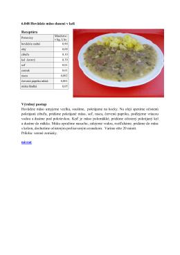 6.048 Hovädzie mäso dusené v keli Receptúra Výrobný