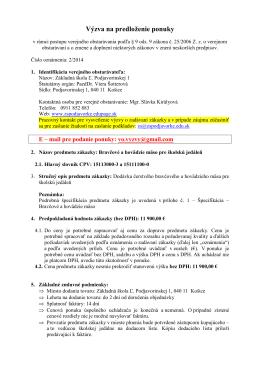 2-2014 Výzva na predloženie ponuky