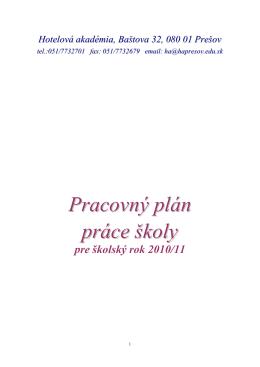 Pracovný plán práce školy - Hotelová akadémia Prešov