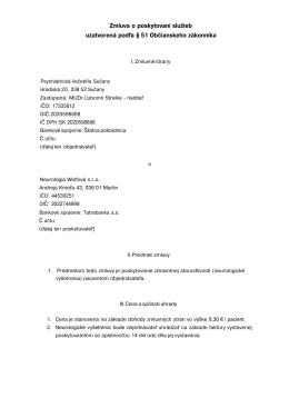 Zmluva o poskytovaní služieb - Psychiatrická liečebňa Sučany