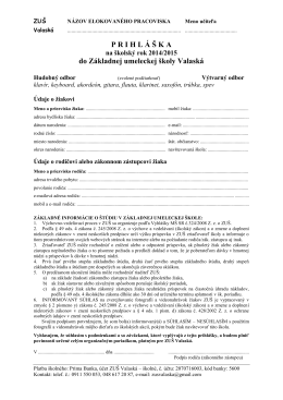 Prihláška - ZÁKLADNÁ UMELECKÁ ŠKOLA vo Valaskej