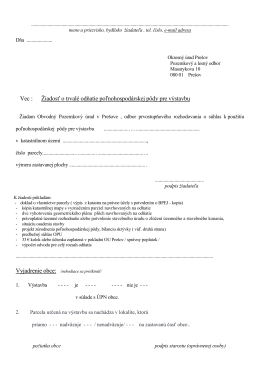 Vec : Žiadosť o trvalé odňatie poľnohospodárskej pôdy pre