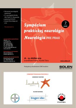 Sympózium praktickej neurológie Neurológia PRE PRAX