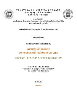 2. cirkulár konferencie - Aktuálne trendy vo vyučovaní prírodných vied