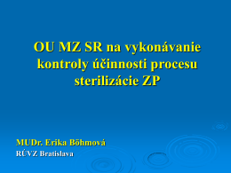 Odborné usmernenie MZ SR na kontrolu účinnosti procesu