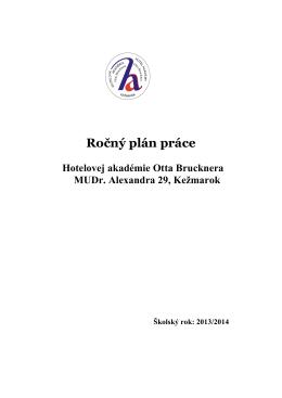Ročný plán práce - Hotelová akadémia Otta Brucknera Kežmarok