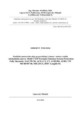 obchodného názvu: Mobil 1 ESP Formula Emission System