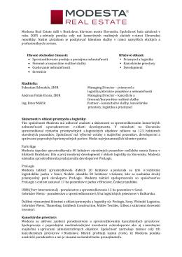 Realitná spoločnosť Modesta - Informácie o činnosti 2014
