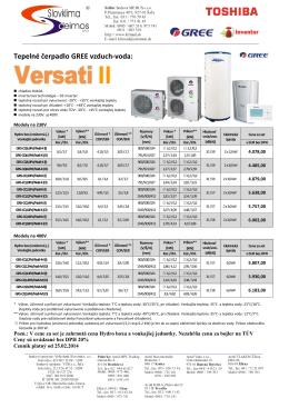 cennik GREE Versati II - od 25.2.2014