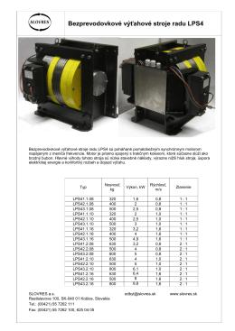 Bezprevodovkové výťahové stroje radu LPS4