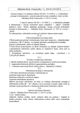 Aplikácia zákona o slobodnom prístupe k informáciám v škole