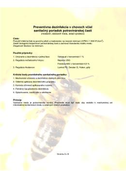 Preventívna dezinfekcia v chovoch včiel sanitačný - BEE-SAFE