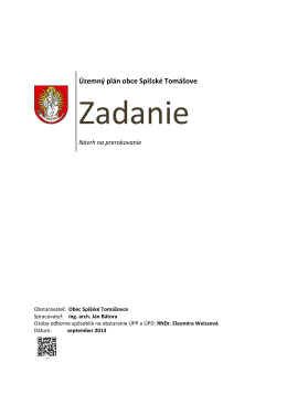 Územný plán obce Spišské Tomášovce – Zadanie
