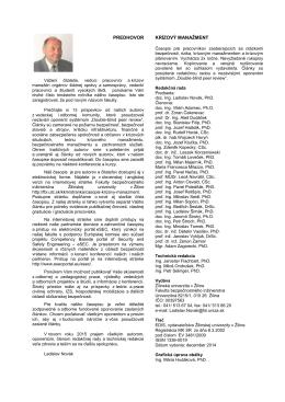 predhovor krízový manažment - Fakulta bezpečnostného inžinierstva