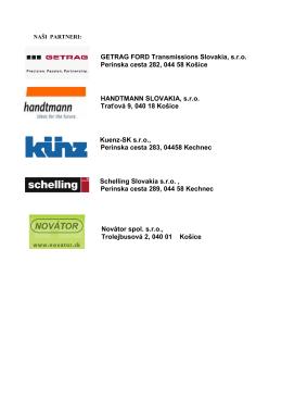 GETRAG FORD Transmissions Slovakia, s.r.o. Perínska cesta 282