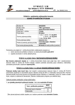 Kritériá 4-ročnéx - Gymnázium Sobrance