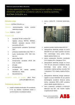 Výroba elektrickej energie v kondenzačnom režime z biomasy