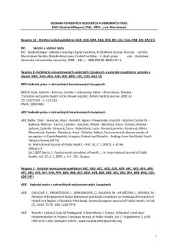 Publikácie - Katedra verejného zdravotníctva