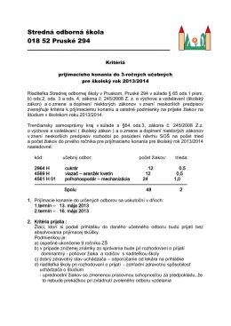 633003 Stredná odborná škola, Pruské 294, Pruské