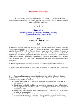 Smernica na zabezpečenie vykonávania finančnej kontroly v