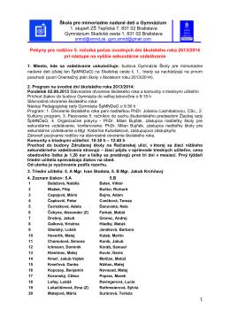 Škola pre mimoriadne nadané deti a Gymnázium 1. stupeň ZŠ