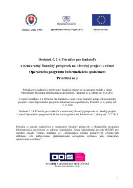 Dodatok č. 2 k Príručke pre žiadateľa o NFP na - OPIS