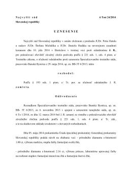 6 Tost 24/2014 - Najvyšší súd SR