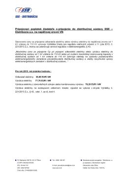 Pripojovacie poplatky nad 1 kV pre rok 2015 - SSE