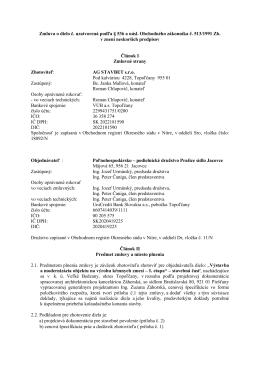 Zmluva o dielo č. uzatvorená podľa § 536 a násl