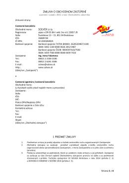 Strana 1 z 4 ZMLUVA O OBCHODNOM ZASTÚPENÍ SOLVEX s.r.o. I