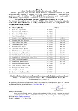 Rozpis hliadok pre katastrálne územie Rákoš na rok - urbar
