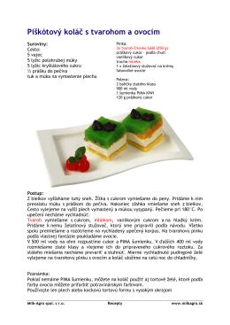 Piškótový koláč s tvarohom a ovocím