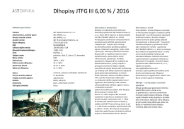 Dlhopisy JTFG III 6,00 % / 2016
